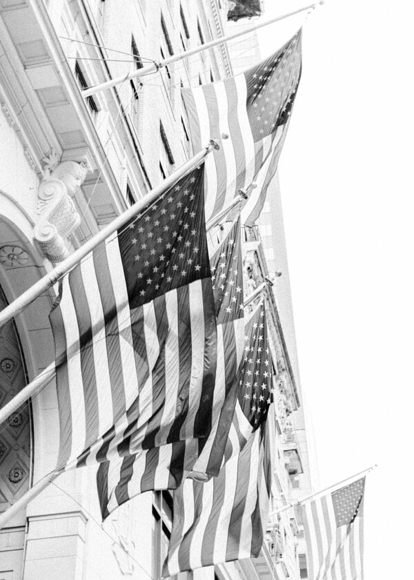 American flags in black and white. Photographic prints.