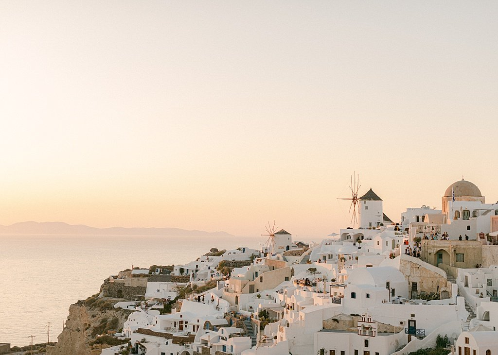 Oia Sunset over White Washed Houses