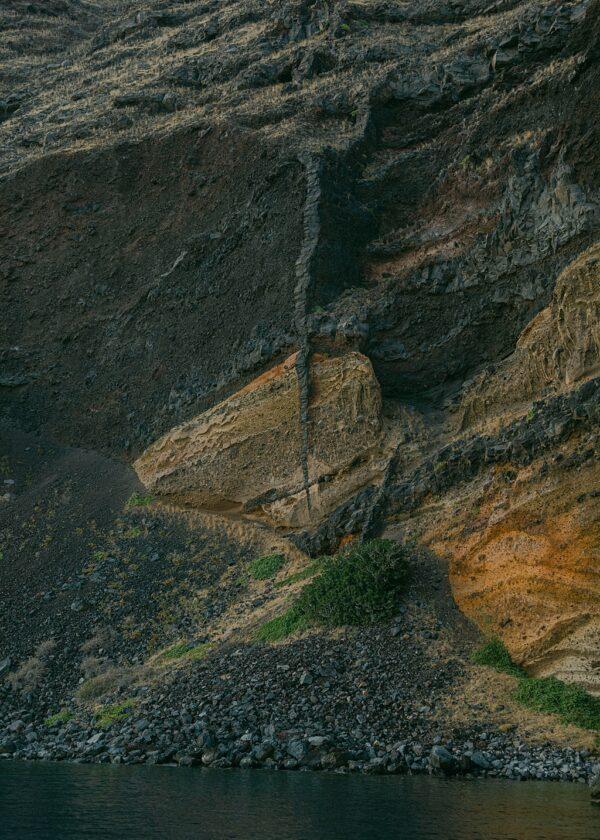Santorini Black Cliffs Print