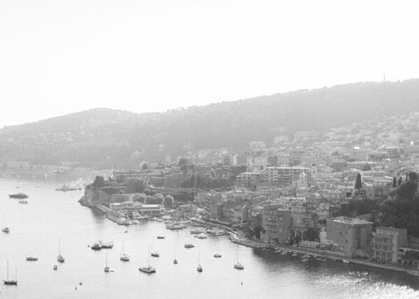 Villefranche-sur-Mer in black and white